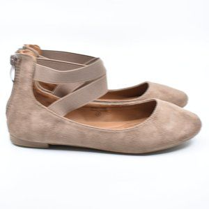 Little Girls Taupe Faux Suede Ballet Flats